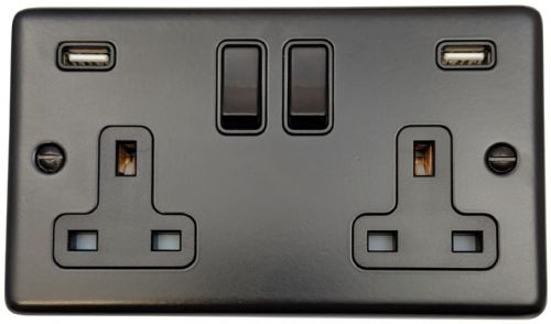 G&H CFB910B Standard Plate Matt Black 2 Gang Double 13A Switched Plug Socket 2.1A USB